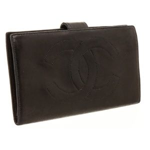 CHANEL Bags - Chanel Black Leather Timeless French Purse Wallet